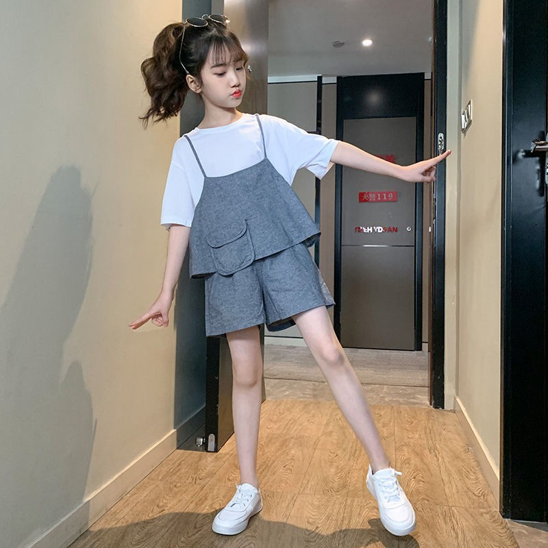 女童網紅套裝新款韓版兒夏季童裝短褲女孩三件套裝♔洋洋♔