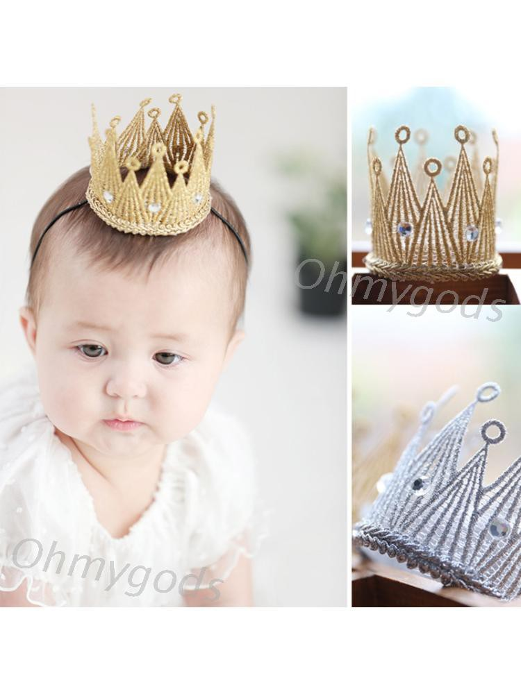 OMG *嬰兒新生兒公主迷你閃光蕾絲皇冠髮箍嬰兒髮飾