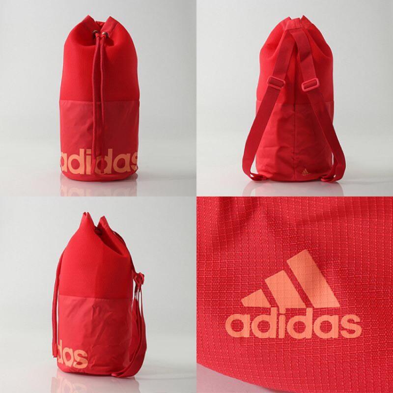 愛迪達 粉紅束口後背包 Adidas