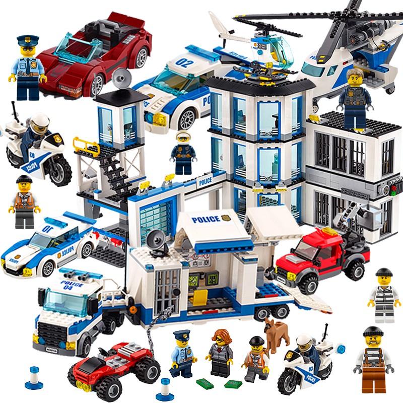 ✘樂高城市系列警察局警系局兒童積木男孩子9拼插拼裝8益智玩具汽車