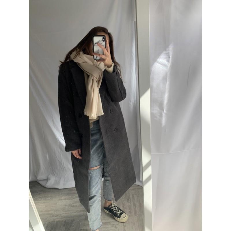#0025 歐逆款深灰色長版大衣
