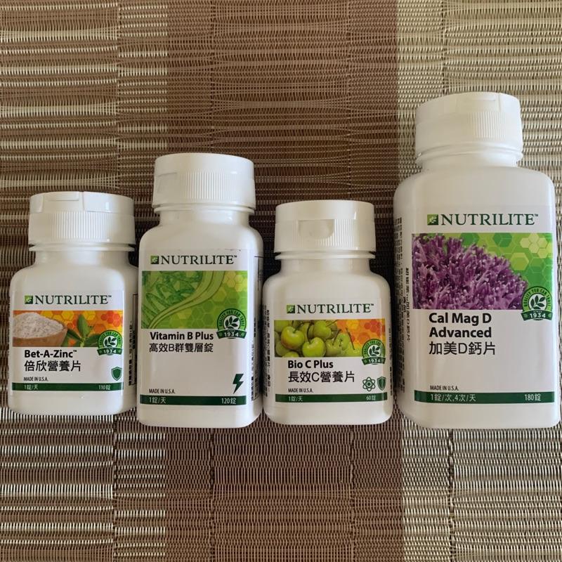 安麗Amway紐崔萊 倍欣營養片A、高效B群雙層錠、長效C、加美D天然鈣片、歐芹硒E 魚油 葉酸