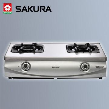 櫻花瓦斯爐/櫻花安全爐 G5900(G5900S)雙炫火珍珠壓紋不鏽鋼面板台爐