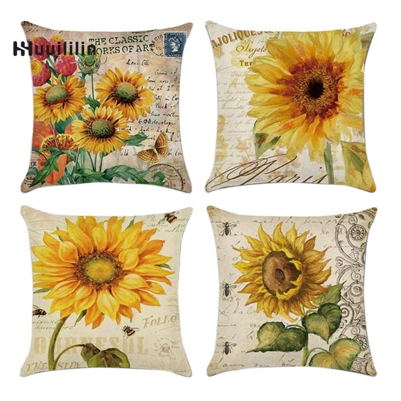 4件/套向日葵室內和室外枕頭亞麻靠墊枕頭套裝飾沙發床椅子擁抱枕頭套