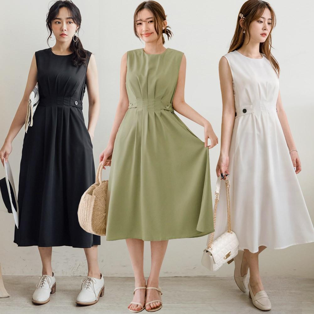 MIUSTAR 顯瘦壓褶側釦滑面雪紡洋裝(共3色)洋裝 0316 預購 【NJ0358】