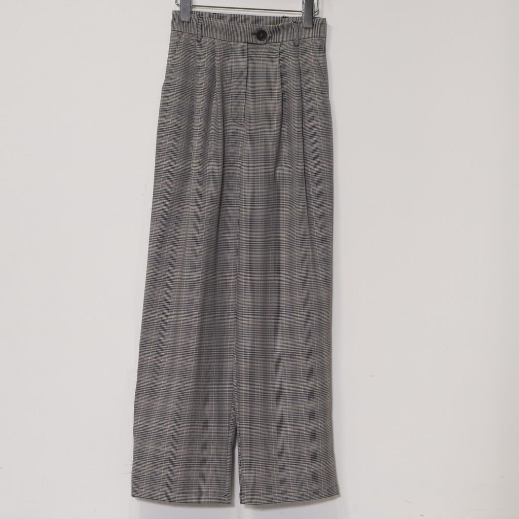 【MiROO】雅緻格紋寬褲