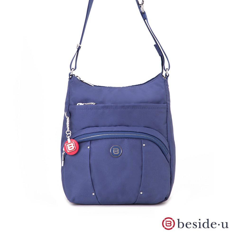 beside u BLL 防盜刷金屬裝飾直立式格層斜肩包側背包 – 藍色 官方直營
