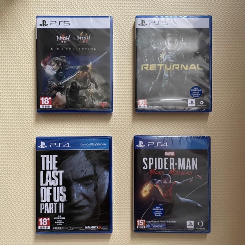 全新轉售 PS5死亡回歸+PS5仁王1+2+PS4蜘蛛人邁爾斯+PS4最後生還2 遊戲光碟