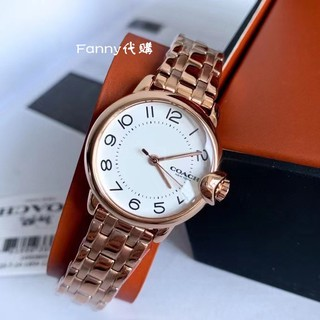COACH蔻馳手錶 玫瑰金鋼帶女腕錶 石英錶 小錶盤精品錶 14503603 細錶鏈指針錶 ARDEN系列數字錶盤小C耳 桃園市