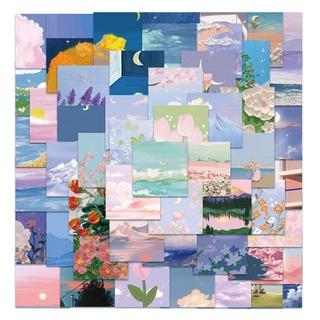 56枚ins復古懷舊風景油畫可愛少女手帳行李箱筆記本裝飾貼紙貼畫