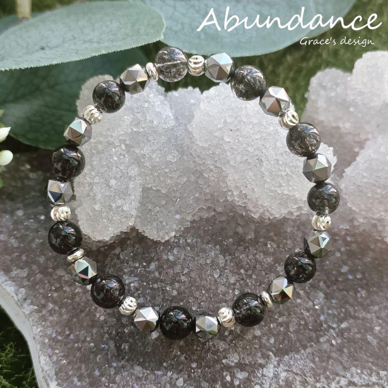   黑髮晶•鈦赫茲石  🖤Abundance療癒能量水晶手鍊.避邪防小人