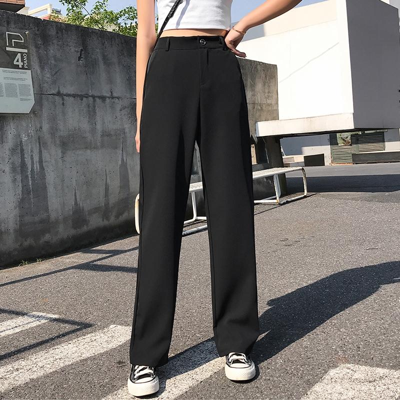 [嬌戀主角]寬褲女高腰西裝褲顯瘦垂墜感直筒褲長腿拖地褲女休閑夏季薄款