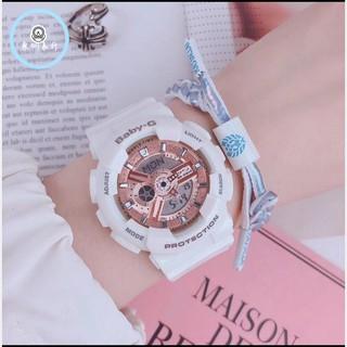 CASIO 卡西歐 Baby-G 人氣經典率性手錶-玫瑰金x白 街頭率性風格腕錶 情侶款 BA-110-7A1