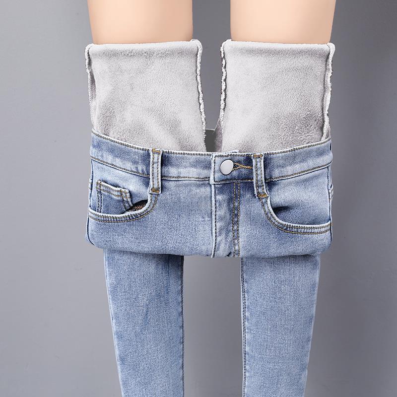 彈力牛仔褲 加絨牛仔褲女2020新款秋冬季高腰小腳褲彈力顯瘦鉛筆褲九分女大碼