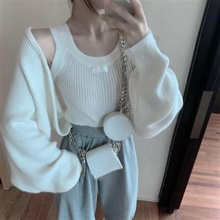 Nice Girl秋季新款套裝女 針織套裝 韓版時尚長袖毛衣外套+短款打底背心兩件套ins 兩件式 高雄市