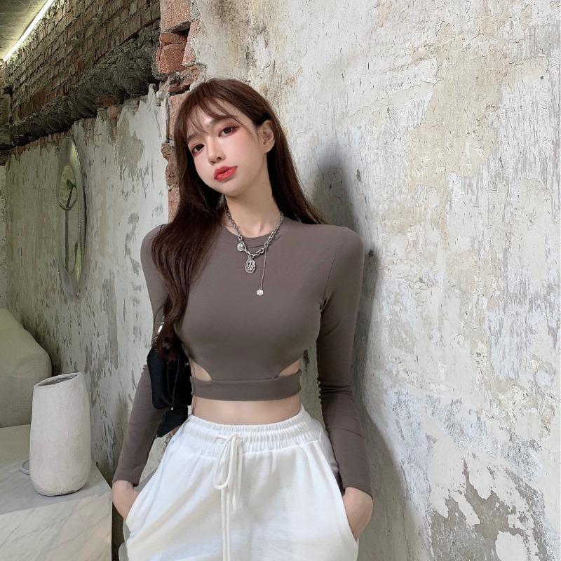 女打底衫】☂設計感白色t恤女裝秋季緊身修身長袖打底衫2020新款內搭短款上衣