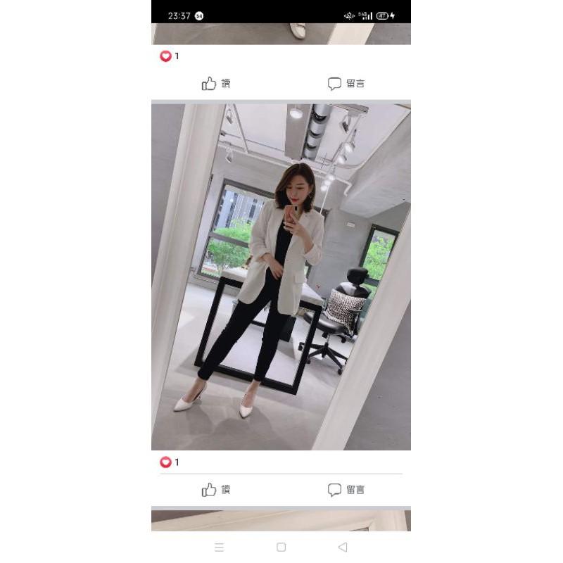 Wstyle 韓系亞麻西裝外套 白色(含郵)