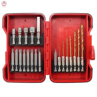 BabyPatronus-套筒批頭麻花鑽21件套六角柄麻花鑽電動螺絲批頭套筒塑盒套裝組合工具