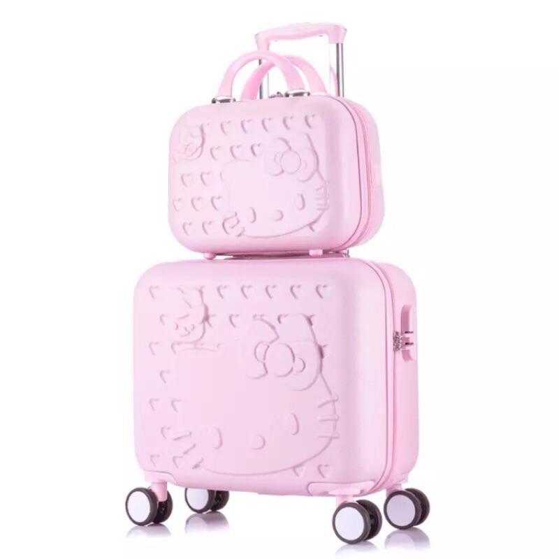HELLO KITTY 16吋行李箱+14吋手提行李箱