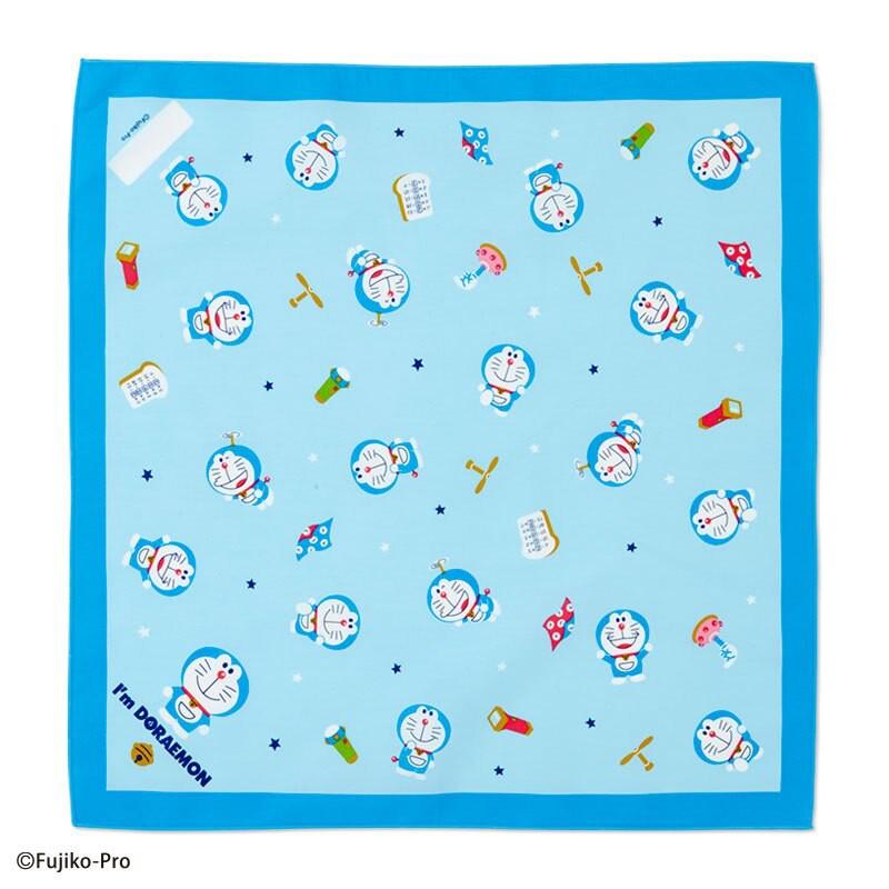小禮堂 哆啦A夢 日製 純棉紗布便當包巾 餐巾 手帕 桌巾 桌墊 43x43cm (淡藍 道具)