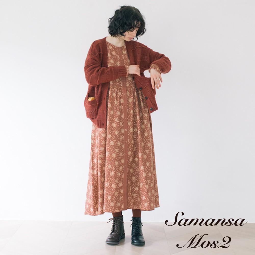Samansa Mos2 棉麻起毛感印花連身洋裝(FB04L0H0180)