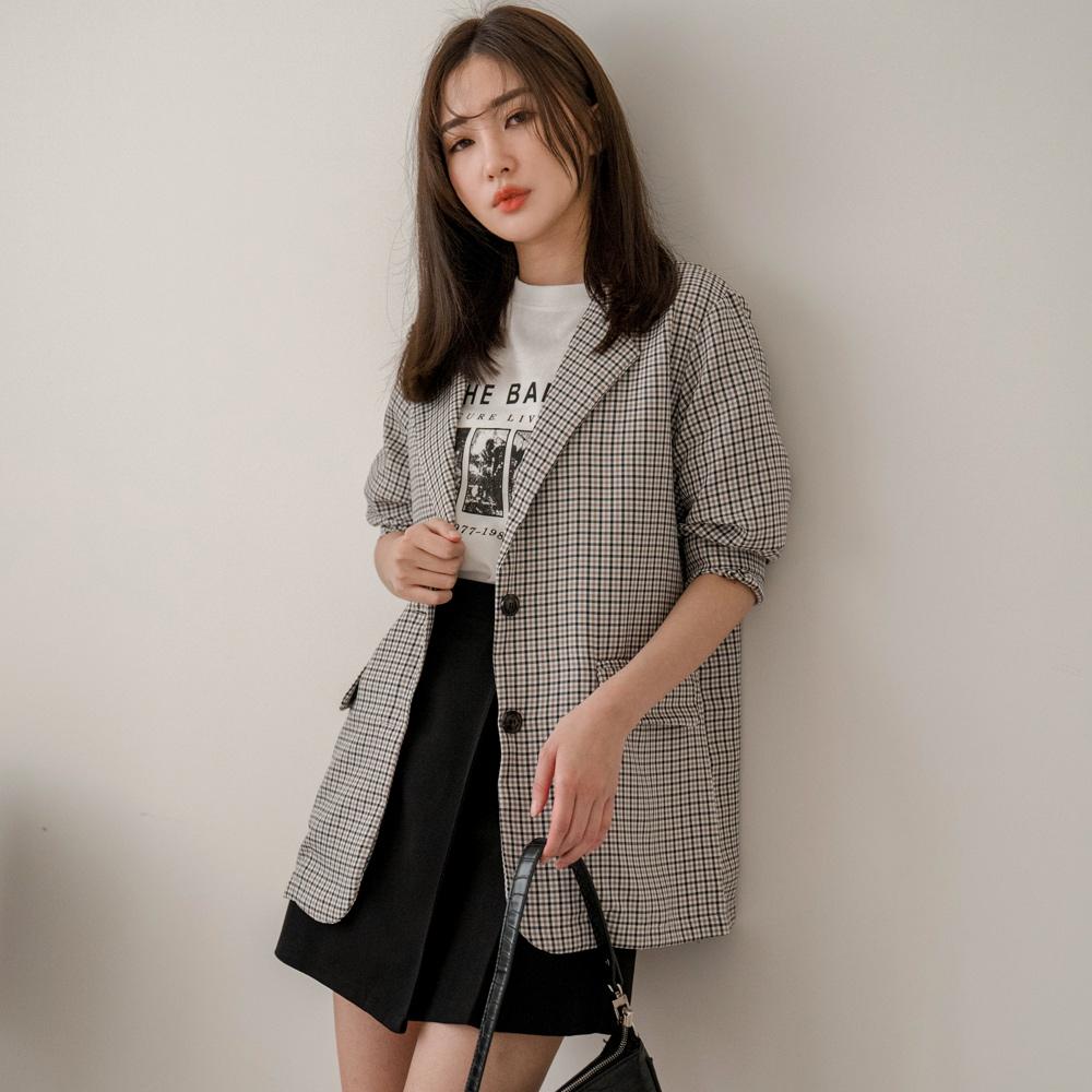 MIUSTAR 經典配色 咖黑格雙釦西裝外套(共1色)外套 西裝外套 0309 預購【NJ0431】