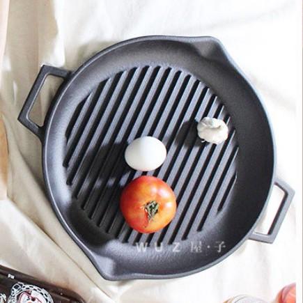 【土耳其LAVA】鑄鐵圓形兩用煎烤盤30cm《屋外生活》烤盤 烤肉 煎牛排 燒烤 中秋烤肉