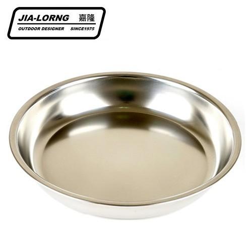 【嘉隆】304不鏽鋼圓盤 戶外露營不鏽鋼餐碗盤8入