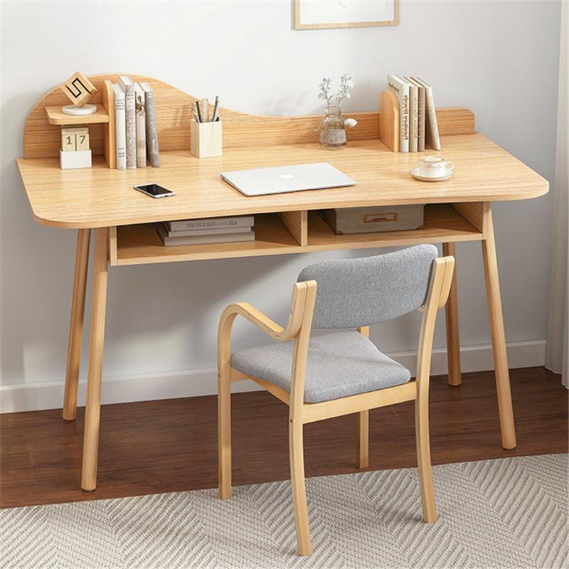 北歐書桌書架一體學習桌電腦桌簡約家用學生實木腿ins臥室寫字桌有愛家居館