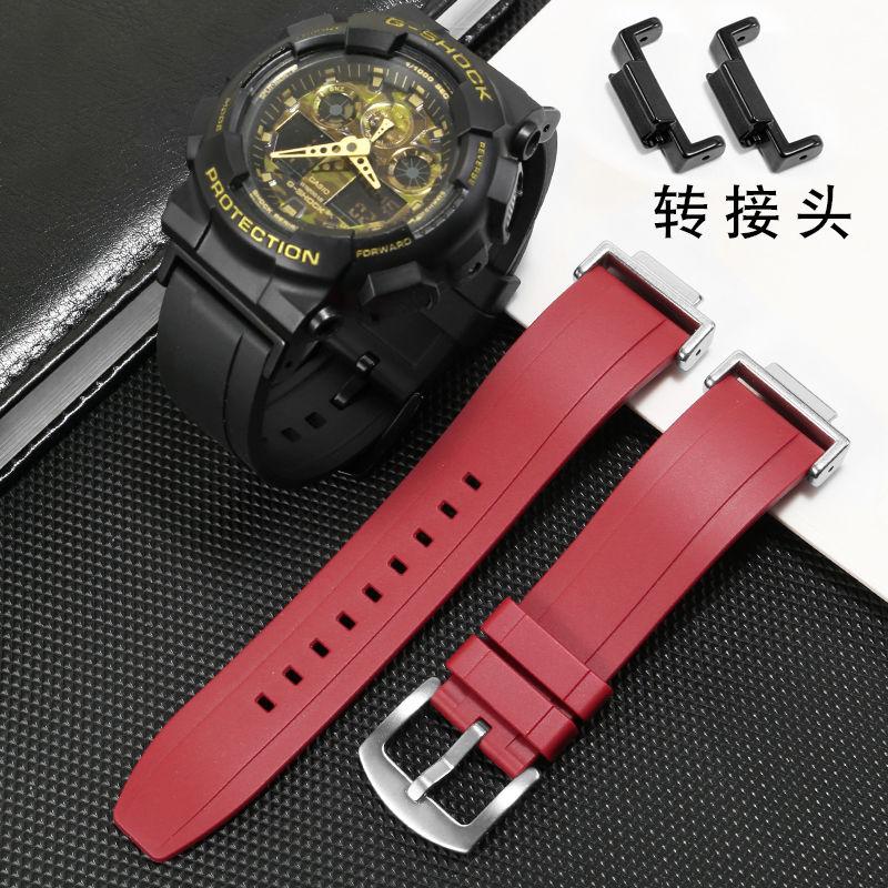 適配G-SHOCK橡膠手錶帶GA110 120 400 700 2100改裝配件氟橡膠帶
