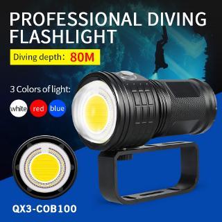 500W專業潛水攝影手電筒LED水下照明補光燈80m深度潛水 IPX8 COB多功能潛水手電筒