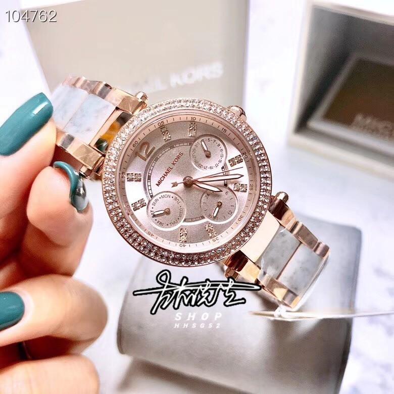 M左右先生🔹Michael Kors MK手錶 MK6327 紫色不鏽鋼帶間膠款三眼計時碼錶日期女士腕錶女生手錶 MK