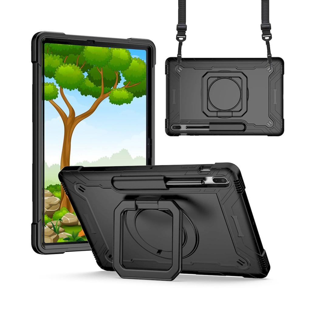 Samsung Galaxy Tab S7 FE 12.4 雙層保護殼鎧甲雙層軟硬殼設計肩背帶支架功能保護套平板套保護殼