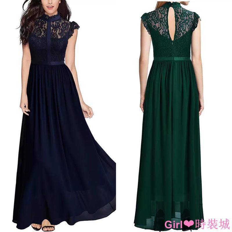 ❤️現貨,深藍M- XL.2XL黑S-L 蕾絲 拼接 禮服 長裙 無袖 鏤空 性感 連衣裙 洋裝 伴娘 婚宴