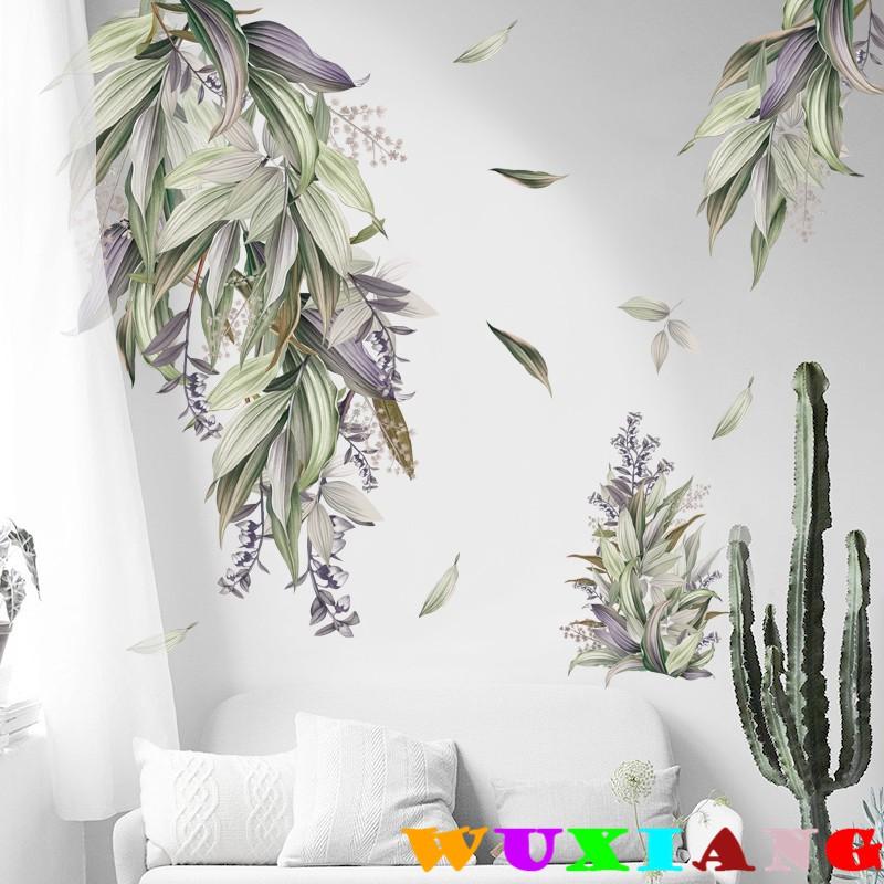 【五象設計】牆貼 房門貼 牆頂牆貼紙 玻璃門裝飾 植物葉子北歐手繪 溫馨 自粘電視牆