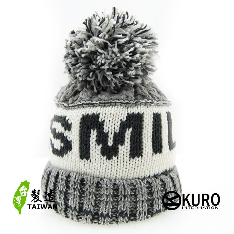 KURO-SHOP針織帽 灰、白 字母 保暖 球球 針織帽