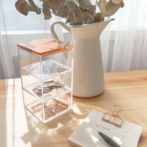 目喜生活| 質感玫瑰金3格堆疊收納盒 棉籤 飾品 辦公室小物收納盒 [ML21C1A1]