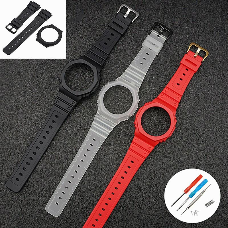 橡膠樹脂快拆錶殼錶帶 男士手錶腕帶改裝配件 適用於 卡西歐手錶 GA-2100 2110