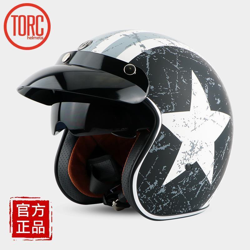 復古機車頭盔男女半覆式安全帽TORC四季冬季半盔電動摩托車頭盔