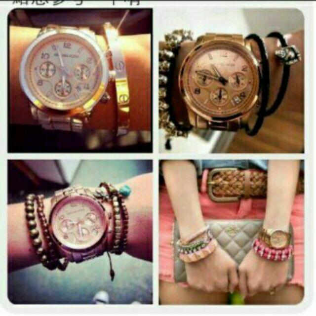 日本銀座代購Michael Kors玫瑰金三眼多功能計時鋼帶MK手錶 腕錶(玫瑰金) MK5128