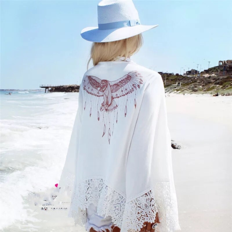 "K""style 歐美性感老鷹印花波西米亞蕾絲拼接喇叭袖沙灘防曬外套"