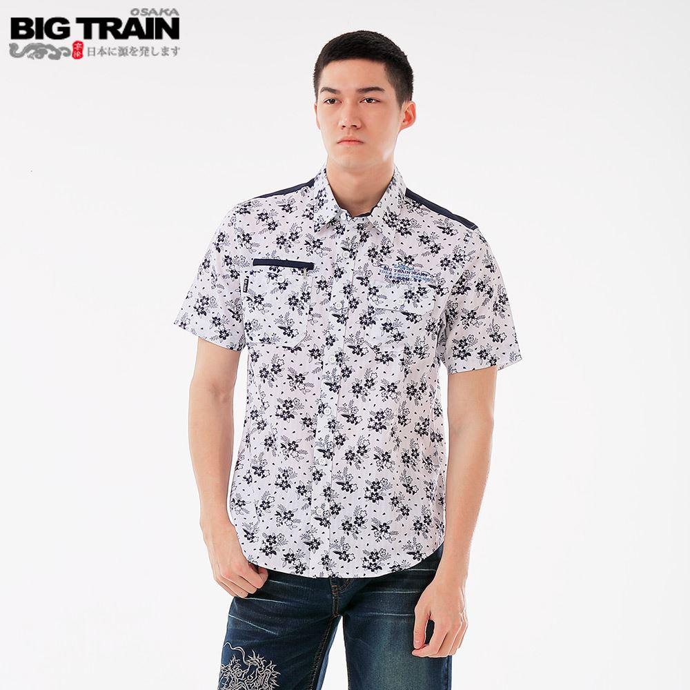 BIG TRAIN 和風印花短袖襯衫-白