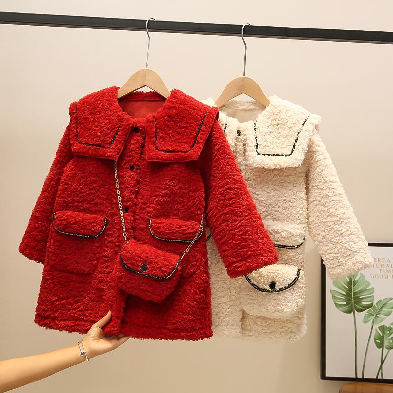 童裝 女童外套 女童毛衣 女童羊羔外套 女童毛料外套 女童羊毛外套 年新款冬裝女童網紅羊羔毛加厚外套兒童洋氣韓版毛毛大衣