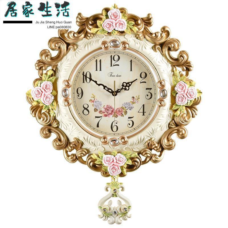 現貨-鐘飾-時尚鐘表掛鐘客廳靜音北歐藝術裝飾鐘家用現代掛表創意簡約時鐘大
