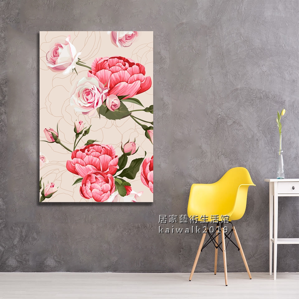 實木框畫花中之王牡丹花開富貴現代藝術裝飾畫客廳房間玄關卧室掛畫沙發