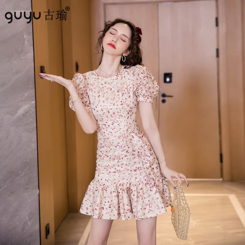 GUYU古瑜 碎花洋裝 S-XL 杏粉色 甜美短袖魚尾連衣裙女生外出約會小洋裝