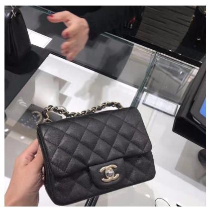 Chanel A35200 mini square 荔枝紋 黑色/金鏈現貨