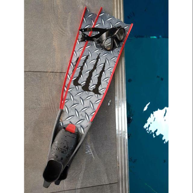 Masaray自由潛水碳纖維蛙鞋 (鐵板圖案)