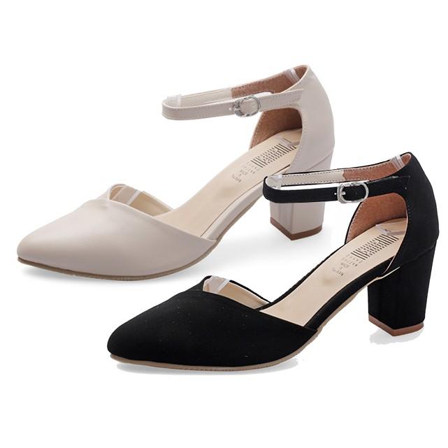 【白鳥麗子】高跟鞋 MIT雜誌經典V字拼接繞踝粗跟包鞋