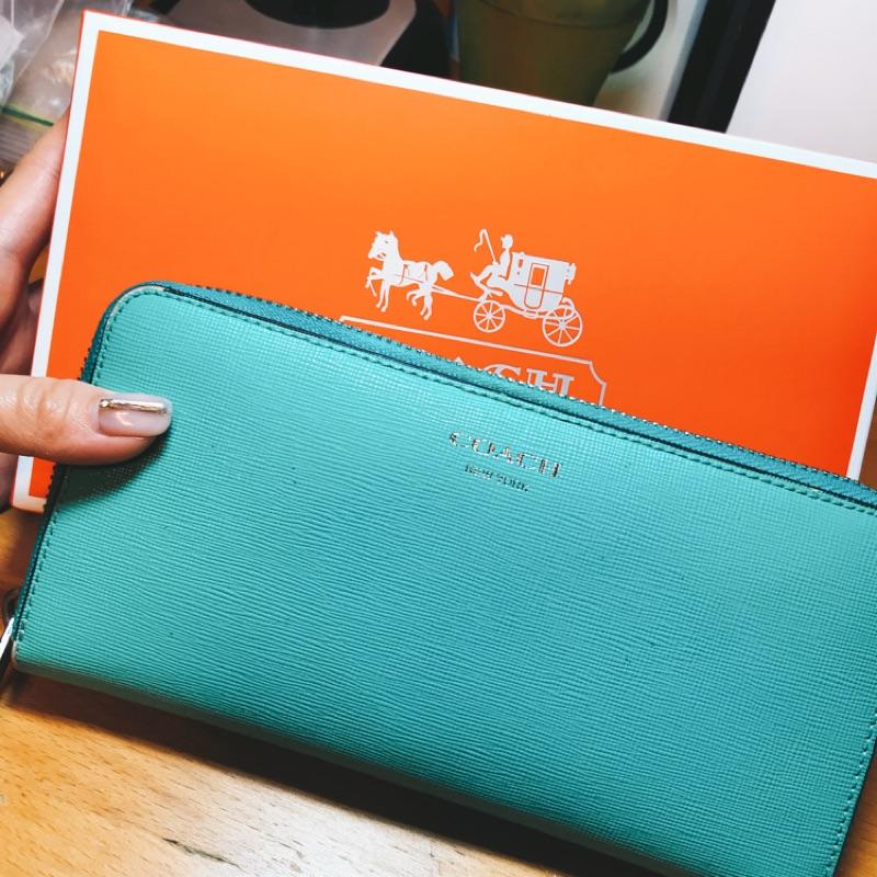 Coach Tiffany綠長夾(附盒、袋)